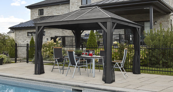 sojag gazebo attached hardtop gazebo softtop aluminum framed gazebos gorgeous gazebos. Black Bedroom Furniture Sets. Home Design Ideas