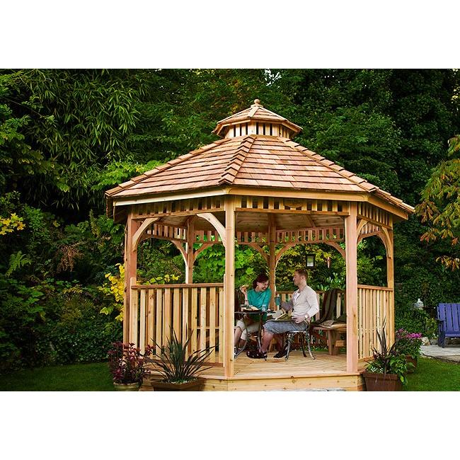 outdoor living today bayside 12 u2032 octagon cedar wood gazebo rh gorgeousgazebos com Octagon Gazebo Canopy Rectangular Gazebo