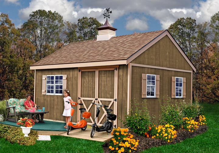 Best Barns New Castle 12 x 16 Wood Storage Shed Kit - Sojag Gazebos