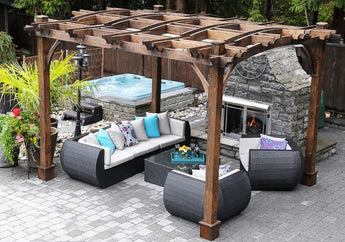 Outdoor Living Today Breeze 12' x 10' Arched Cedar Wood Pergola - Sojag Gazebos