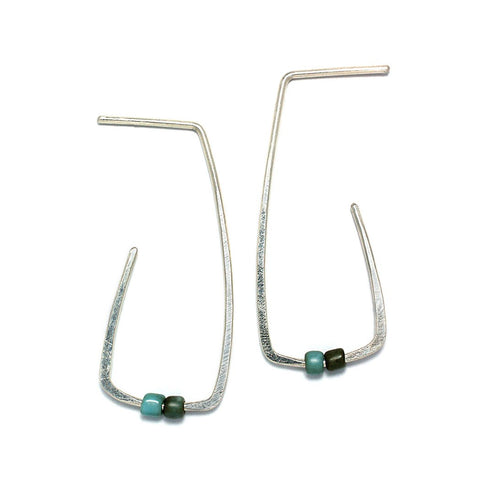 Sterling Silver Jewelry | Window Hoop Stud Earrings| Bottom Blue | Michele Lee | Rarefy Studio