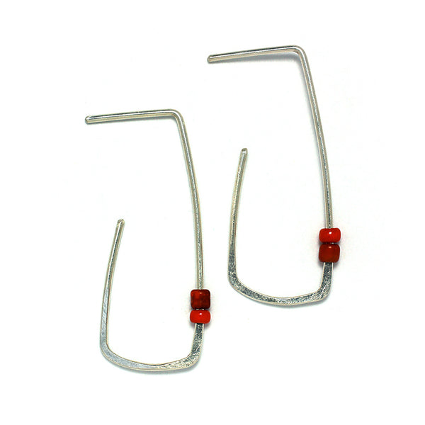 Sterling Silver Jewelry | Window Hoop Stud Earrings| Front Red | Michele Lee | Rarefy Studio