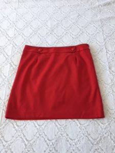 This lined LOFT red skirt is a size L and sits slightly below the waistline. Measurements available upon request.