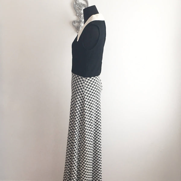 Vintage Black and White Gingham Maxi Dress 1970's