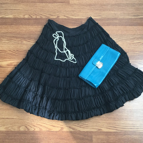 WD.NY Black Silk Skirt