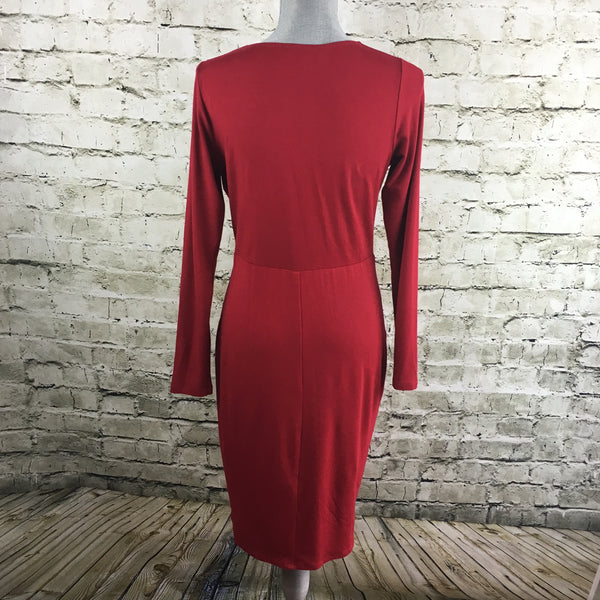 Red Knit Sheath Dress