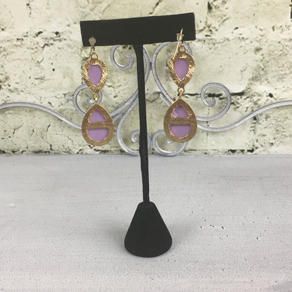 Gold and Lilac Stone Drop Earrings