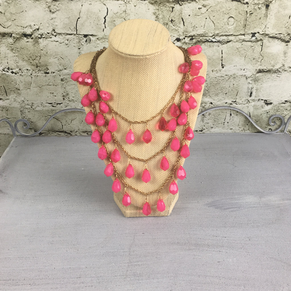 Antique Gold & Pink Bead Statement Necklace