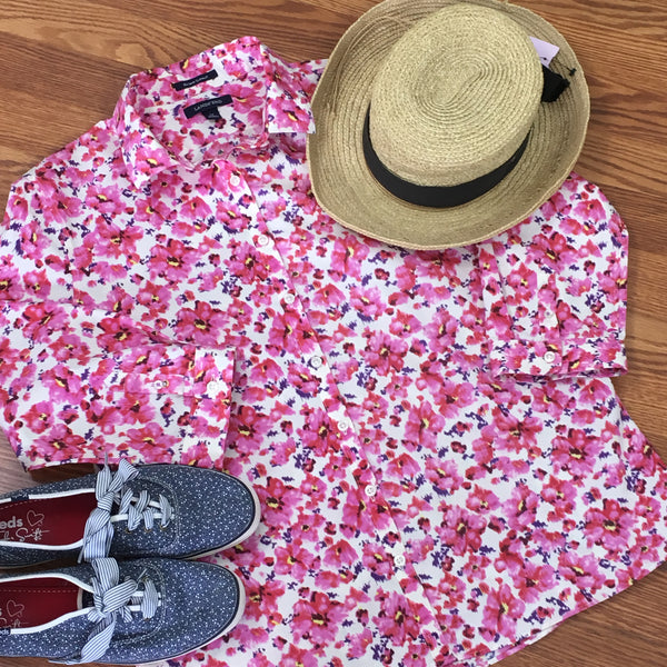 3/4 Sleeve Floral Shirt