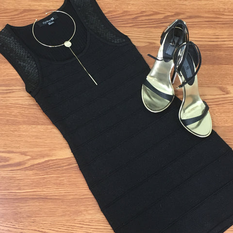Black Sequin Body Con Dress