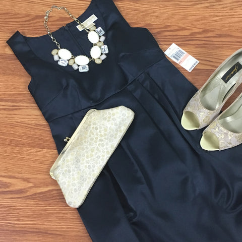 Navy Blue Satin Dress (NWT)