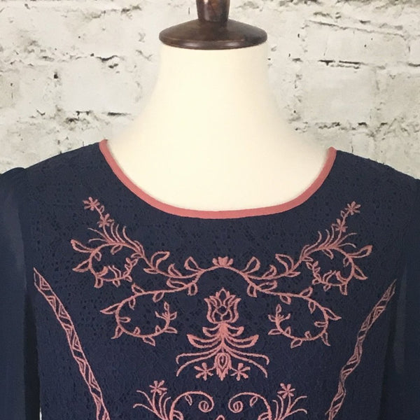 Long Sleeve Embroidered Dress