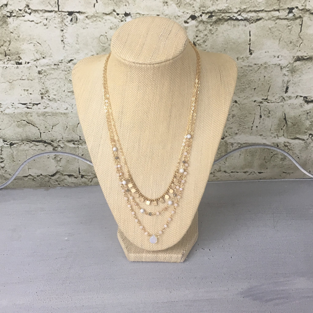 Gold Triple Strand Boho Necklace