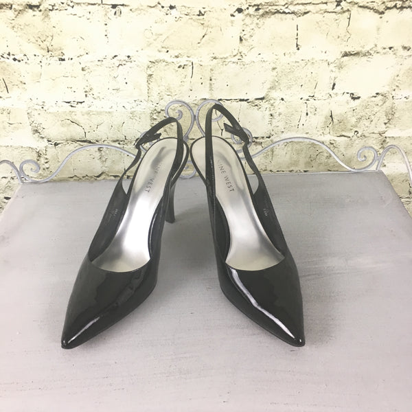 Patent Leather Sling Back Pumps