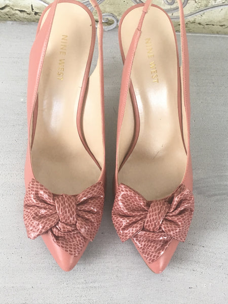Leather Bow Sling Back Pumps