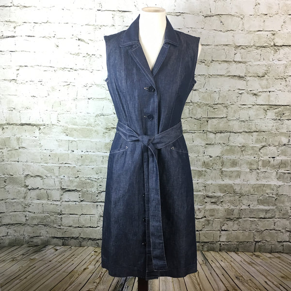 Sleeveless Dark Rinse Denim Dress
