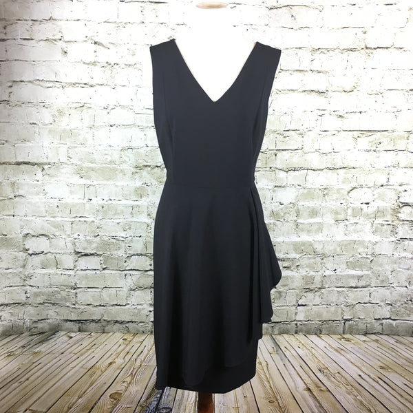 Black Luxe V-neck Ruffle Dress