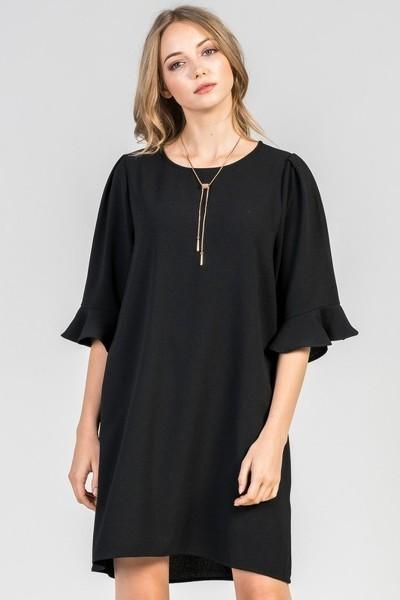 Flounced Ruffle Sleeve Dress