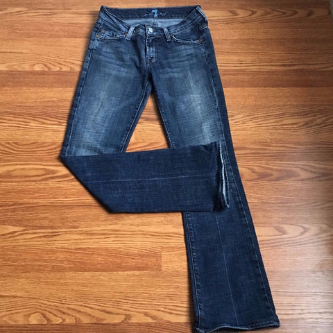 7 For All Mankind Distressed Rinse Boot Cut Jeans