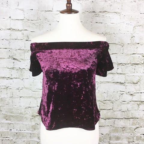 Off-the-Shoulder Crushed Velvet Top