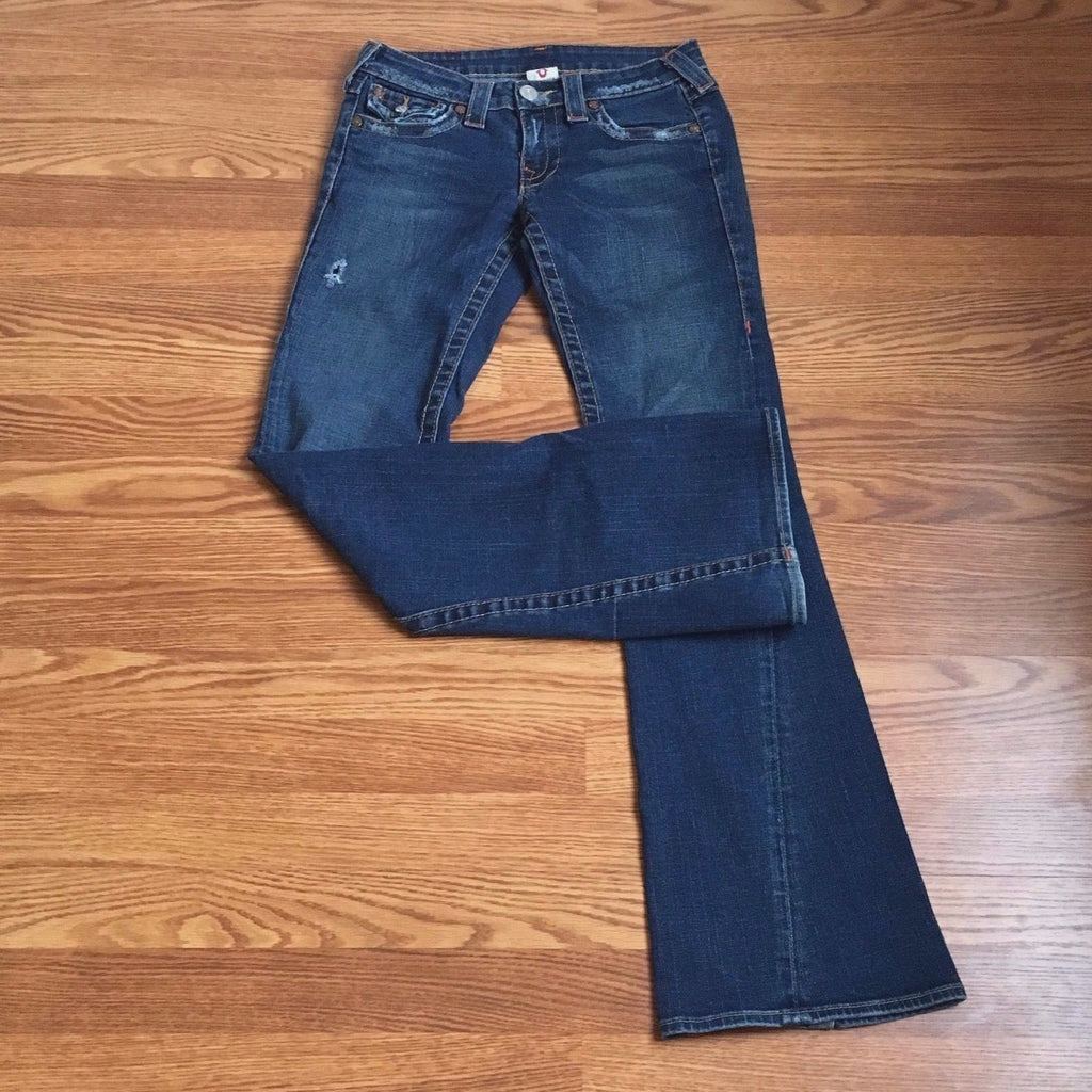 Medium Rinse Distressed Boot Cut Jeans