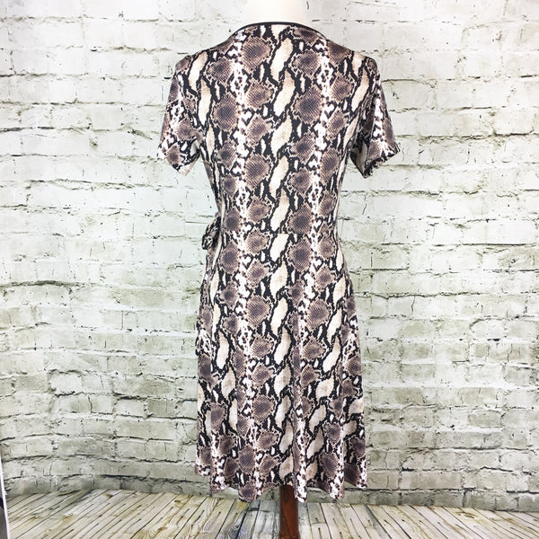 Faux Wrap Snakeskin Dress