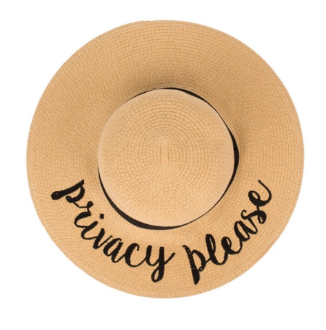"Wide Brim Beach Hat ""Privacy Please"""