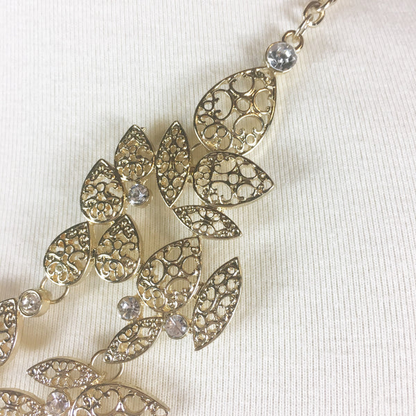Gold Filigree Statement Necklace NWT