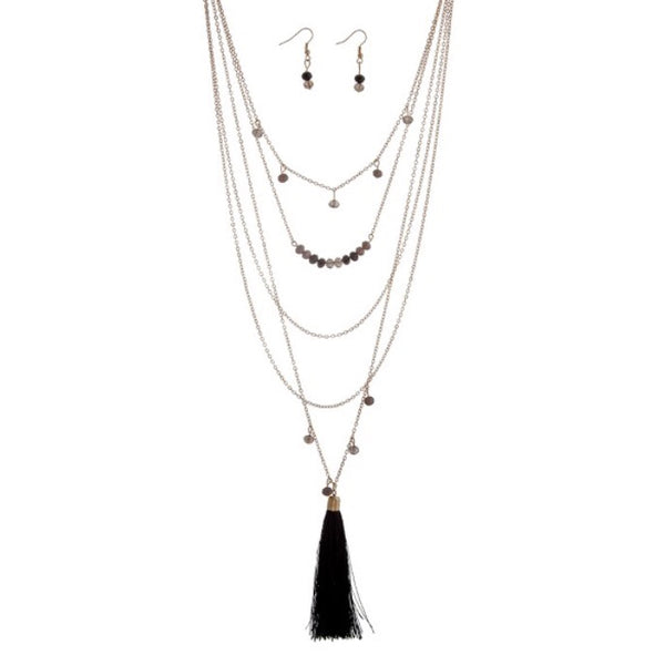 Gold and Black Tassel Layering Necklace