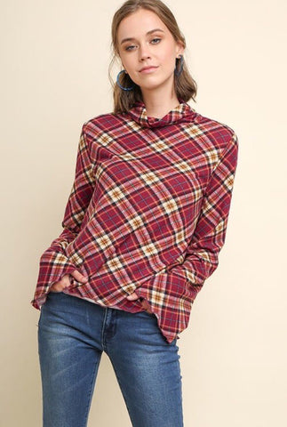 Plaid Mock Turtleneck Top