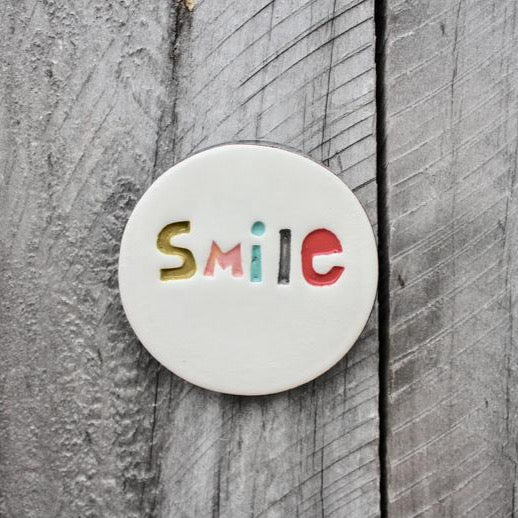 smile ceramic tile handmade in NZ
