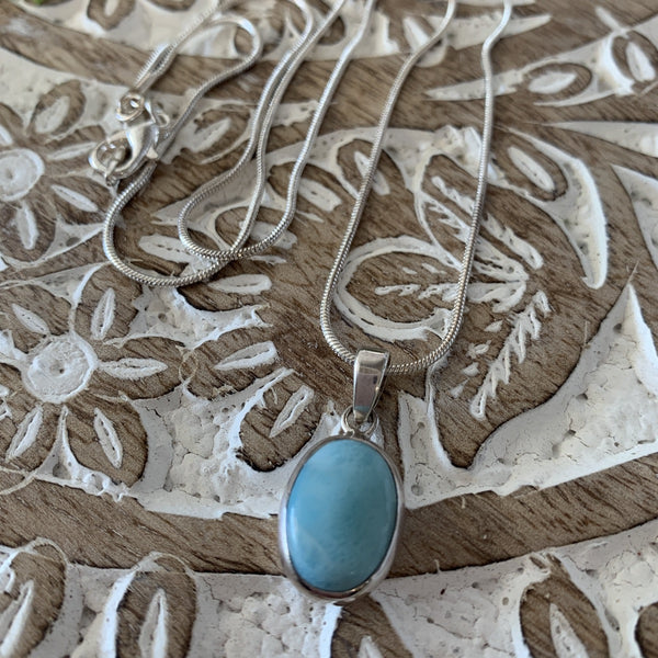 Sterling Silver and Oval Turquoise stone necklace