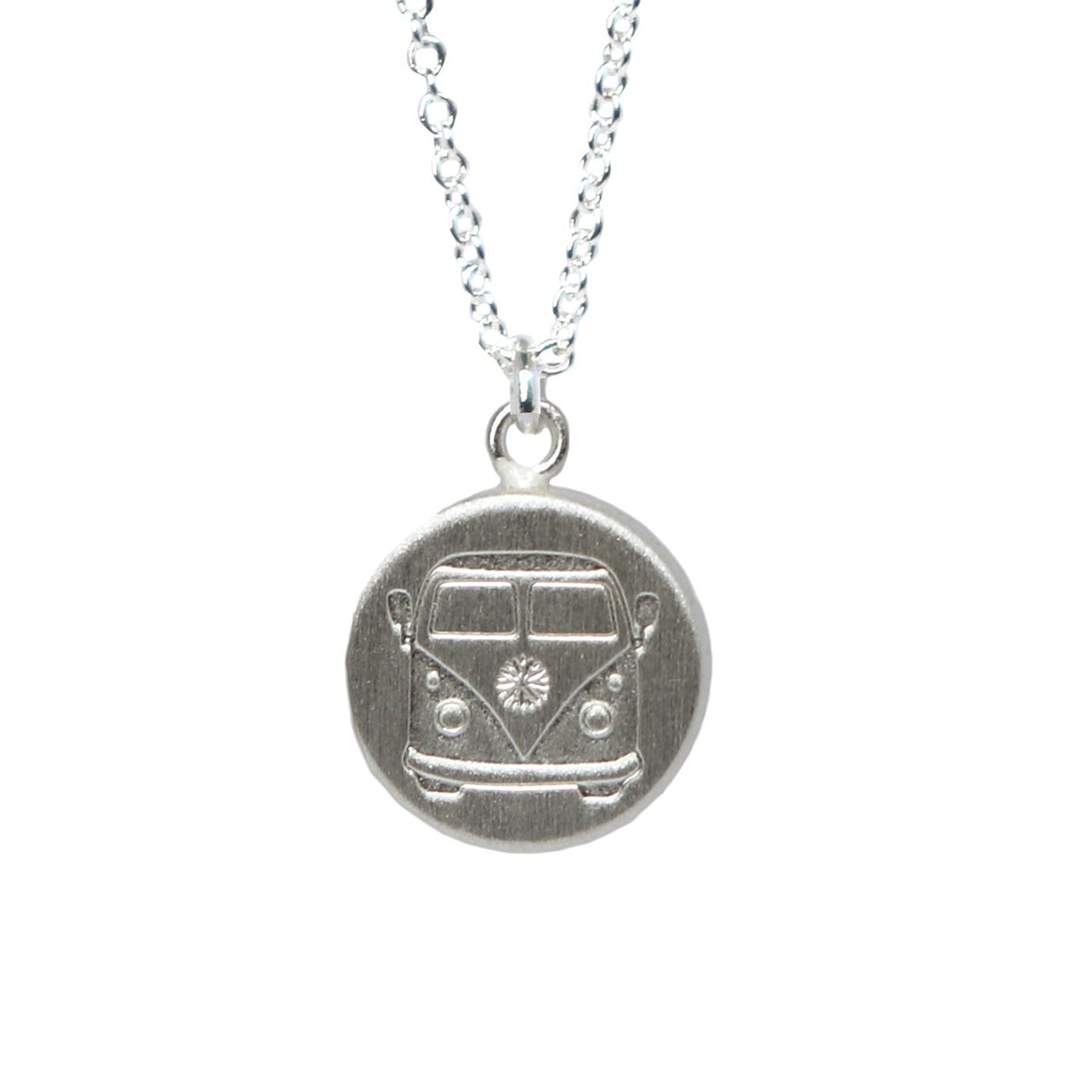 Keke Silver camper combi van etched silver necklace NZ jewellery