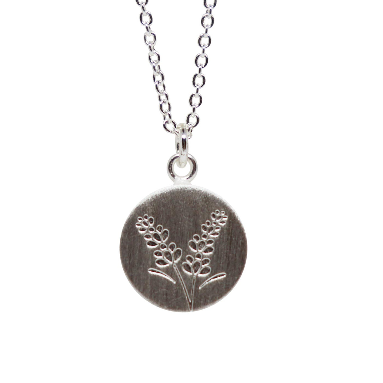 Keke Silver lulling lavender flower etched silver necklace NZ jewellery