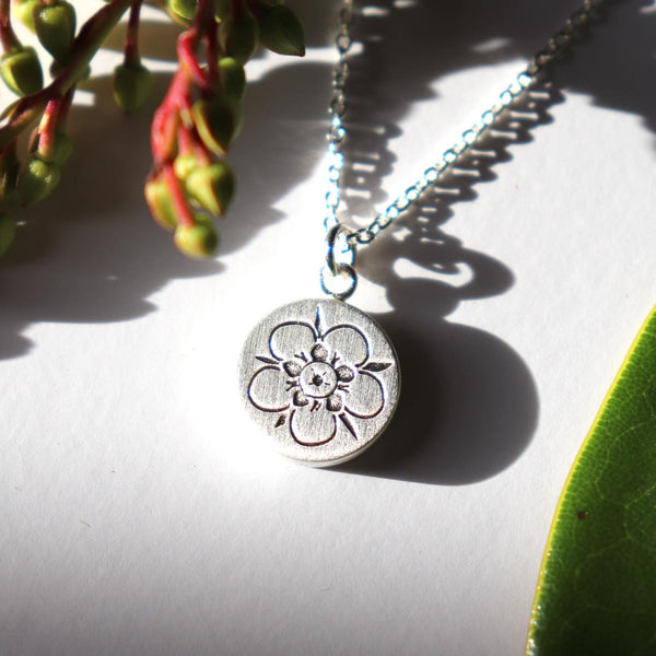 Keke Silver Magical Manuka flower etched silver necklace NZ jewellery
