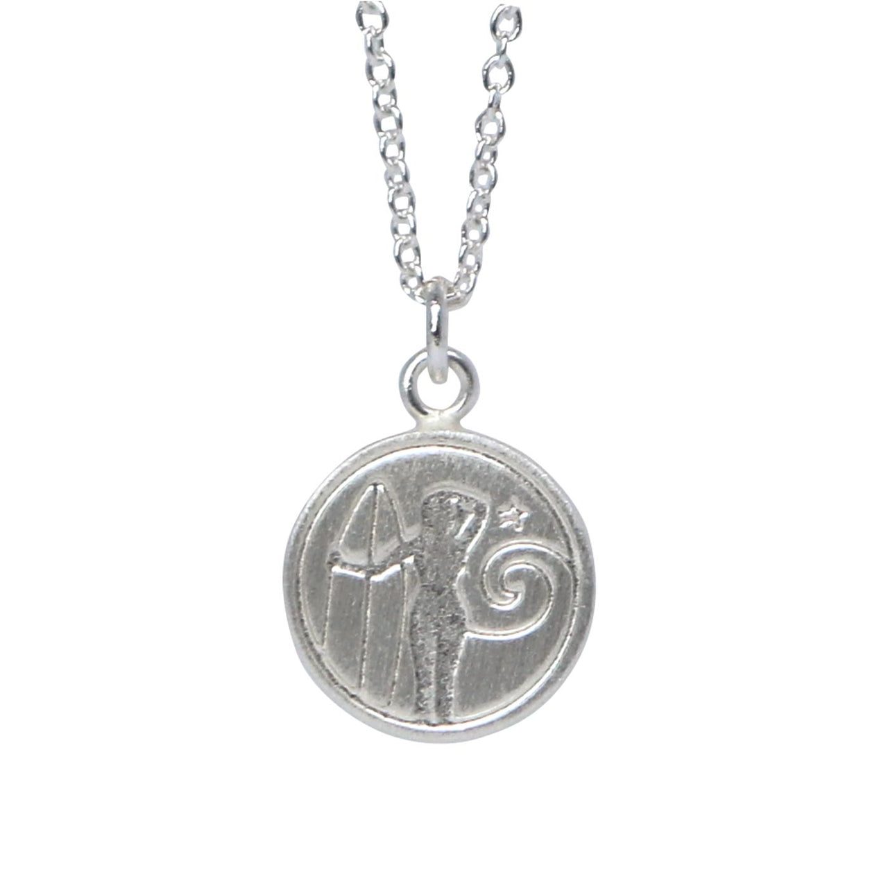 Keke Silver wahine woman surfer etched silver necklace NZ jewellery