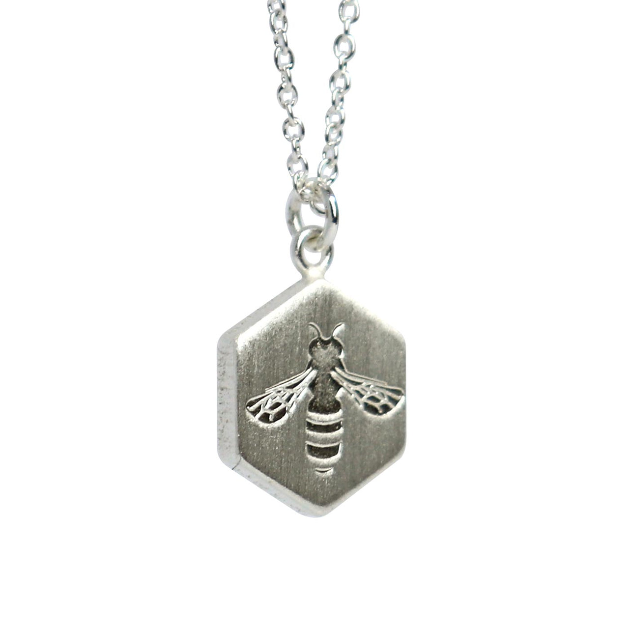Keke Silver busy bee honeycomb etched silver necklace NZ jewellery