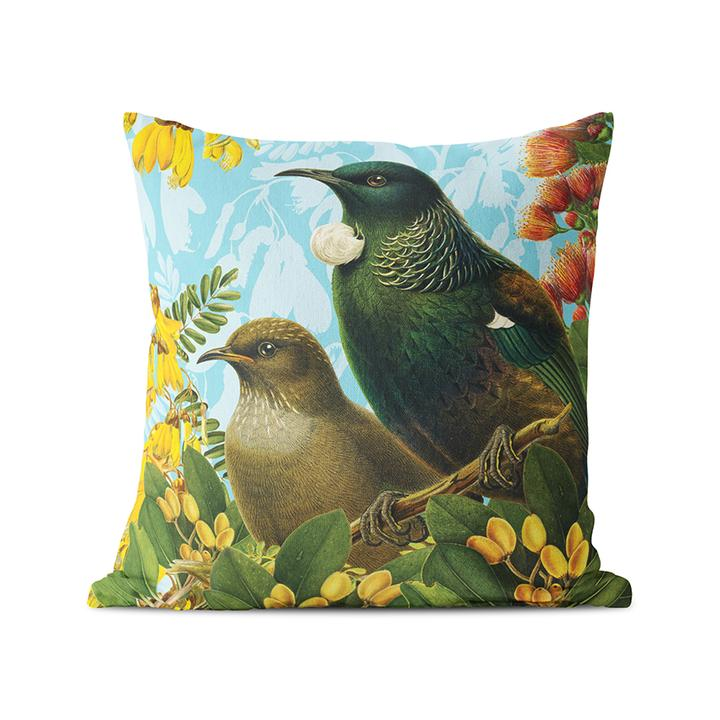Jade Kiwi Kaikoura Tui Cushion Botanical