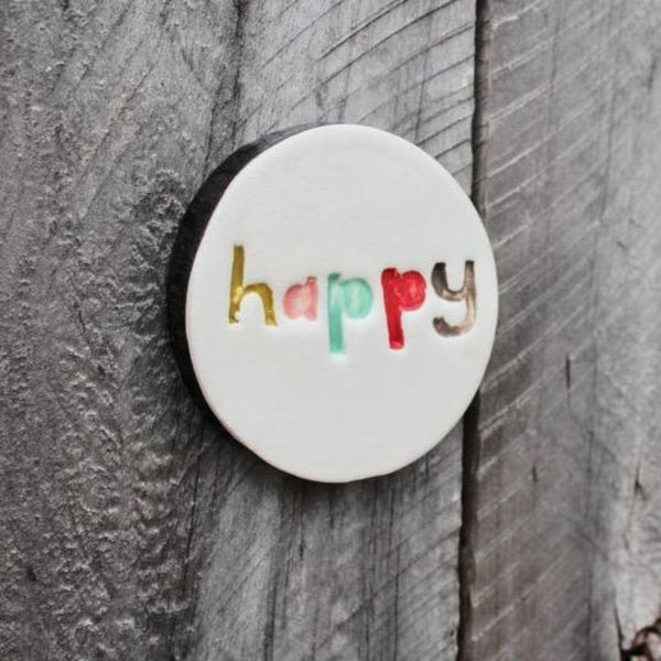 Jade Kiwi Gifts, Happy ceramic tile, handmade pottery