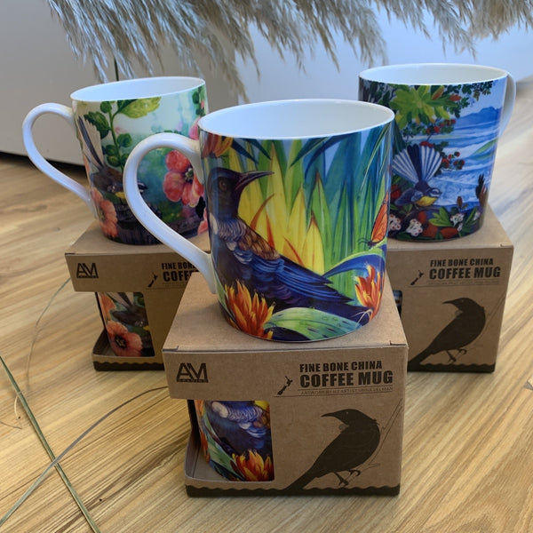 Native birds mugs tui, fantail, jade kiwi gifts