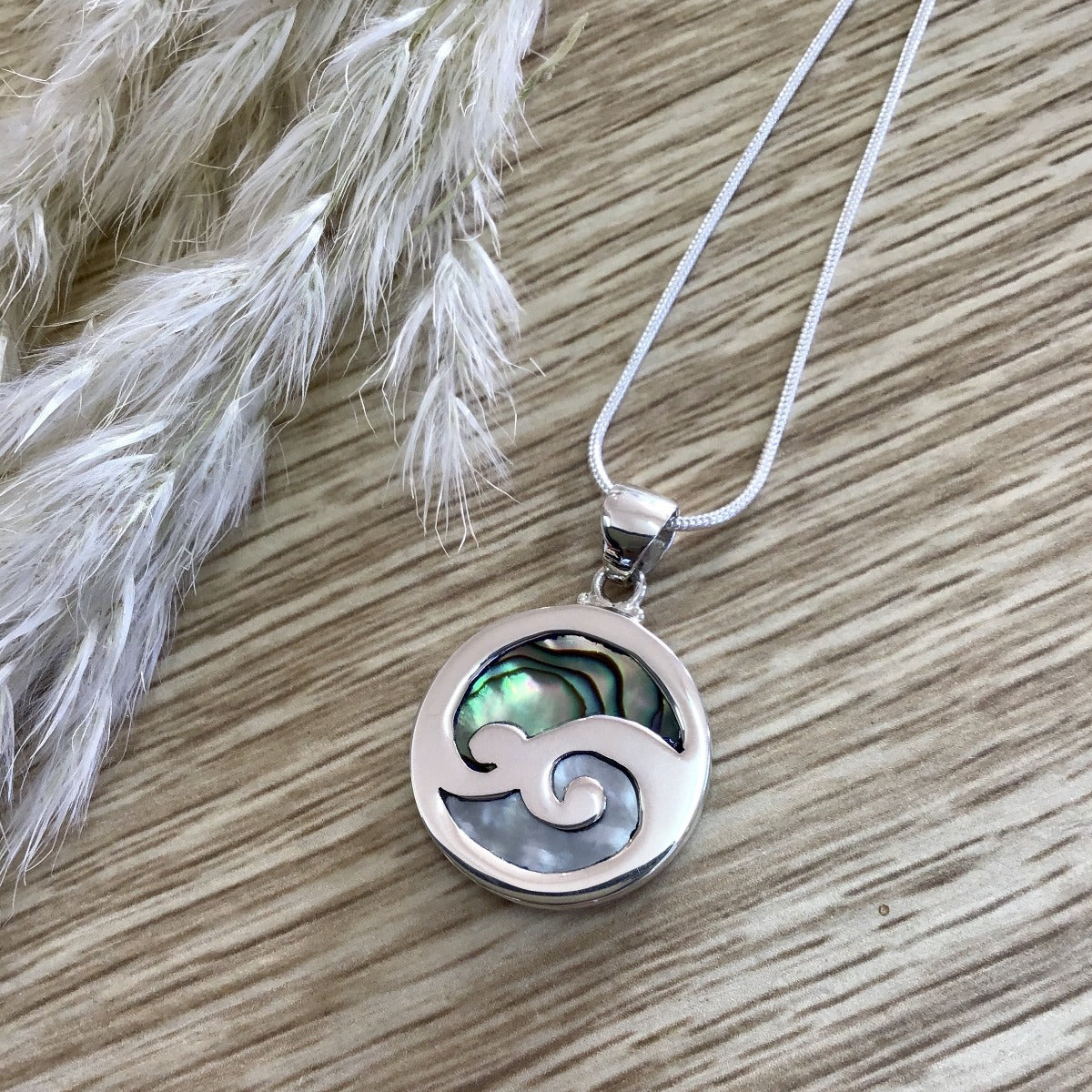jade kiwi kaikoura sterling silver necklace pendant mother of pearl paua shell