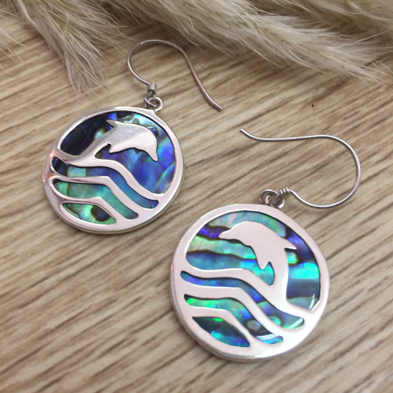 Sterling silver round Dolphin earrings
