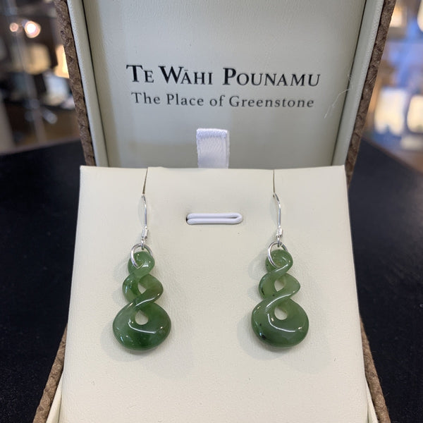 Te Wahi Pounamu Twist Earrings