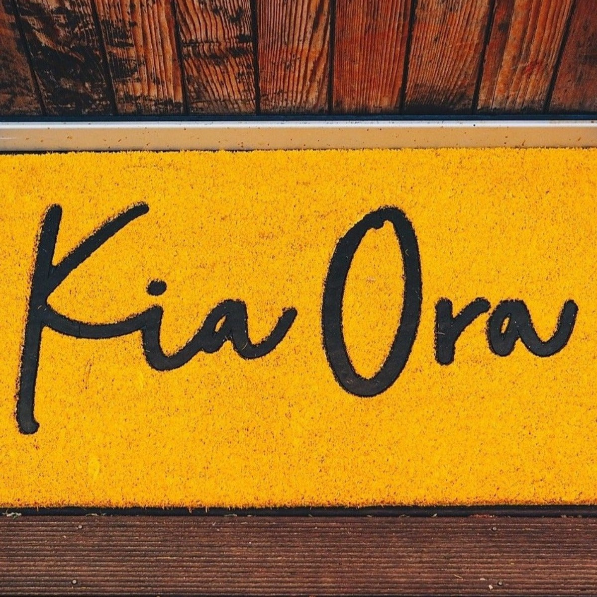 Moana Road Door Mat Yellow Kia Ora