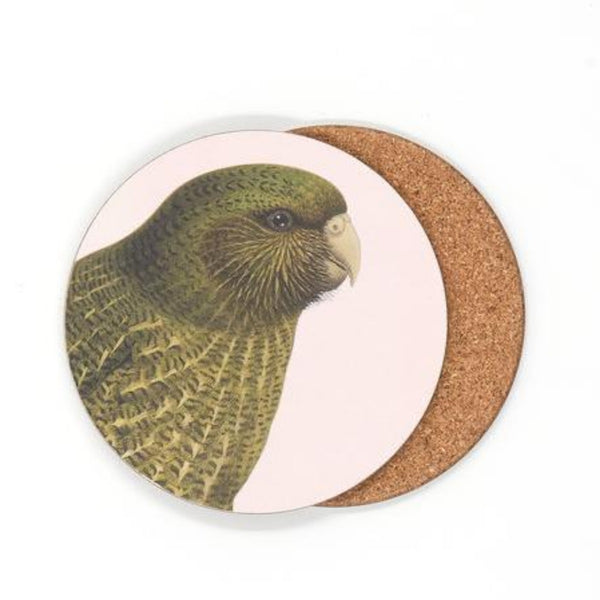 jade kiwi kaikoura gifts native bird coasters kakapo