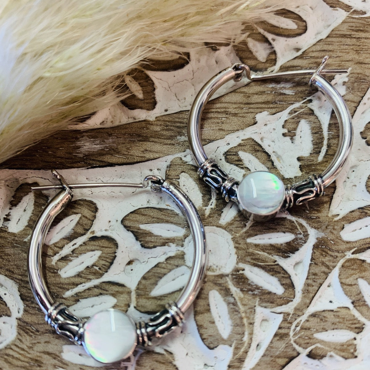 Sterling Silver and Mother of Pearl Hoop Earrings