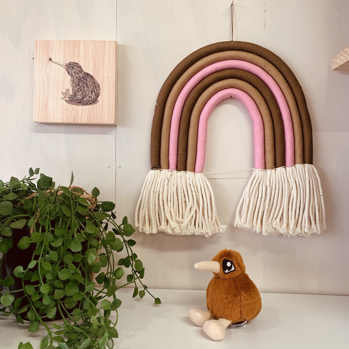Pink Macrame Rainbow for Baby room
