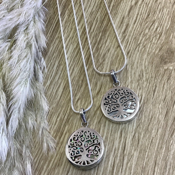 jade kiwi kaikoura sterling silver necklace pendant with paua shell and mother of pearl tree of life