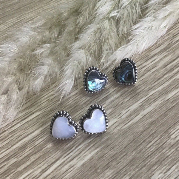 Jade kiwi kaikoura sterling silver heart earrings paua and mother of pearl