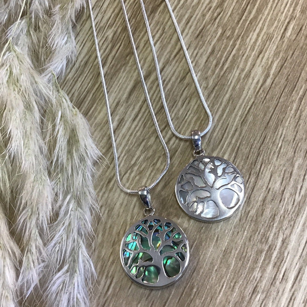 jade kiwi kaikoura sterling silver necklace pendant tree of life paua shell and mother of pearl